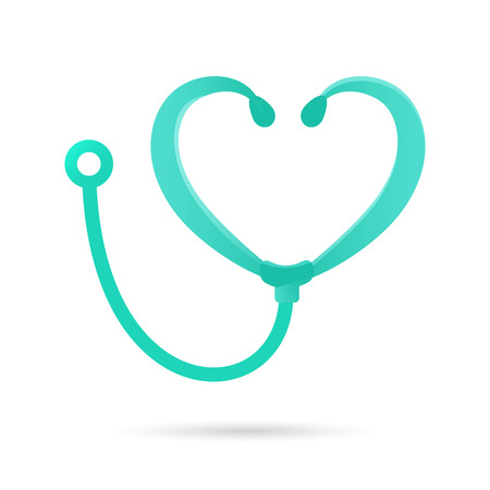Phonendoscope icon, abstract heart shape, 2d vector 免版税图像 - 46267812