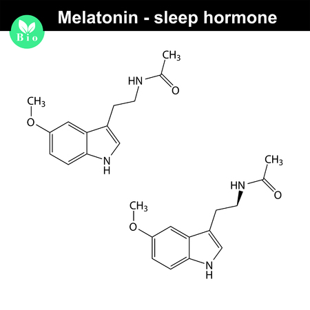 rhythms: Melatonin hormone 2d structure, sleep hormone, daily rhythms regulator, vector model of molecule