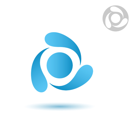 Water cycle icon on white background, three drops, 2d vector  일러스트