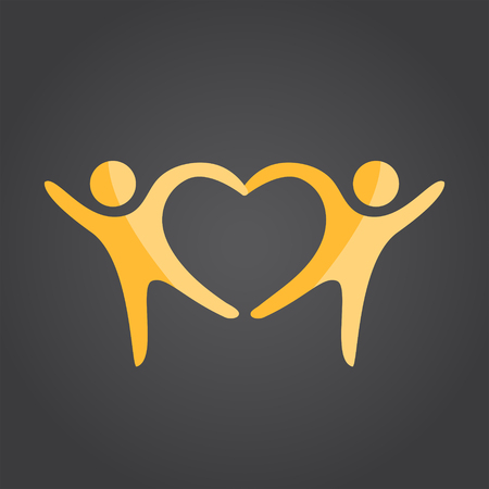 Two people form heart shape holding hands, 2d vector on dark background