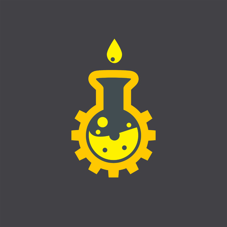 ml: Chemical flask icon on dark background, 2d vector