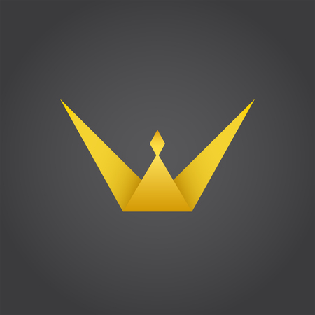 Crown king, w letter icon, 3d vector