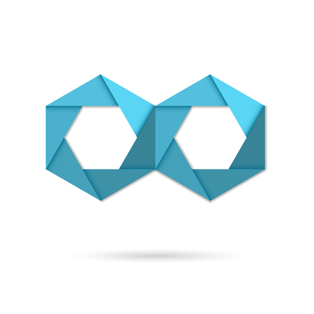 Hexagon infinity icon sign, 2d origami style vector icon