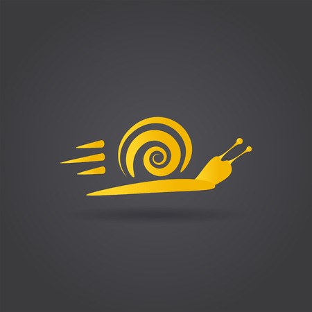 attainment: Fast snail icon, speedy animal icon concept, 2d vector on dark background  Illustration