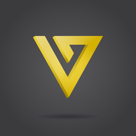 v shape: V letter icon, 3d golden arrow on dark background, vector