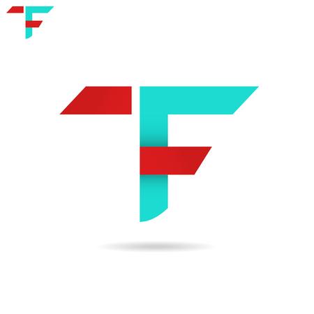 T와 F 문자 아이콘, tf 아이콘 개념, 흰색 배경에 고립 된 2d 벡터