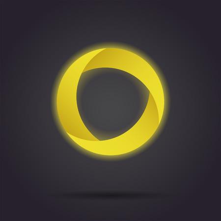 radiative: Golden segmented circle icon, o letter icon template, three segments, 3d vector on dark background