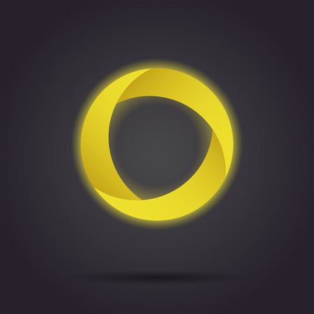 Golden segmented circle icon, o letter icon template, three segments, 3d vector on dark background