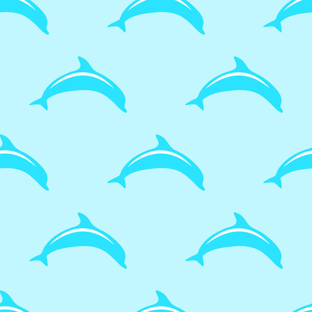 aqua background: Dolphin seamless 2d vector pattern on blue background  Illustration