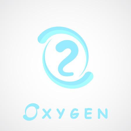 oxigeno: Icono de ox�geno, forma o2, o carta, vector 2d sobre fondo gris