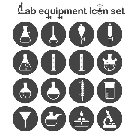 funnel: Lab equipment icon set, 16 signs on dark round plates, 2d vector