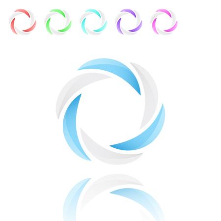 segmentar: círculo de seis segmentos con los colores azul y blanco, vector 3d con variaciones de color y reflexión