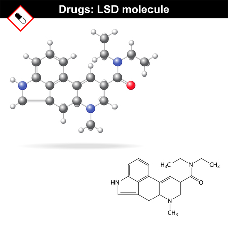 precursor: LSD molecule and model - synthetic hallucinogen, chemical molecular structure, 2d and 3d vector, isolated on white background