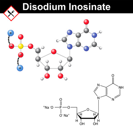structural formula: Disodium inosinate flavor enhancer, food additive, umami taste, structural chemical formula and 3d vector model
