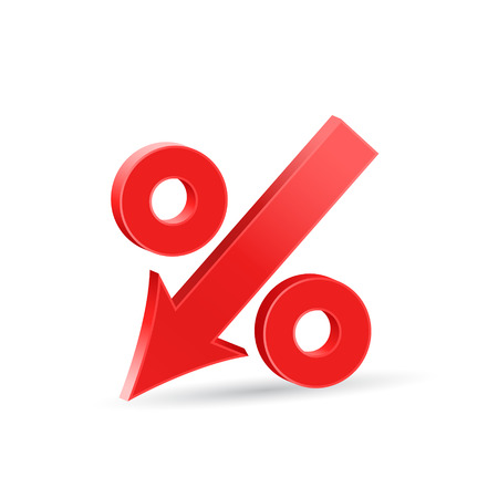 rates: Percent down icon, crisis concept sign, 3d vector on white background