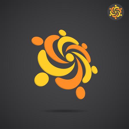 Arany felosztott körbe a sötét háttér, 2D és 3D vektor