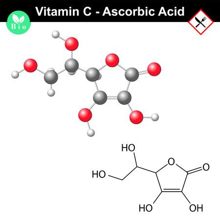 acido: El ácido ascórbico, ascorbato molécula, fórmula química estructural y el modelo, vitamina c, e300, vector 2d y 3d aislado en el fondo blanco