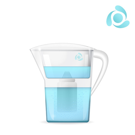 filtration: Water filtration jug with bubbles, water container, filtration tool, water circulation concept