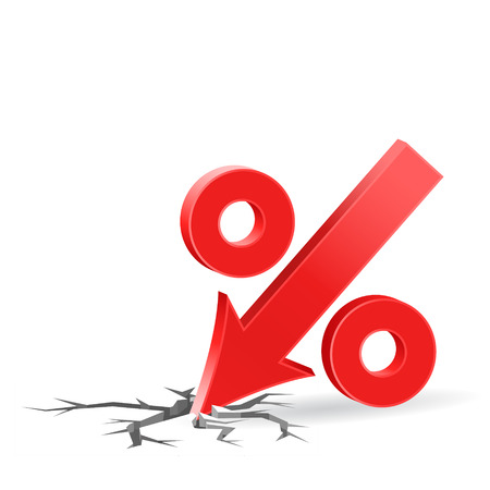 Percent down icon with surface crack, crisis concept sign, 3d vector on white background