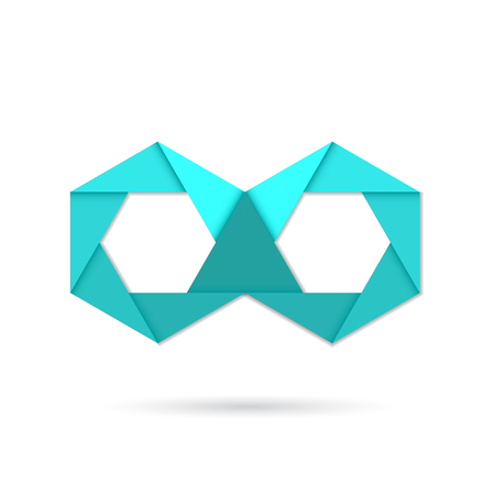 infinity icon: Hexagon infinity icon symbol, paper origami style vector icon