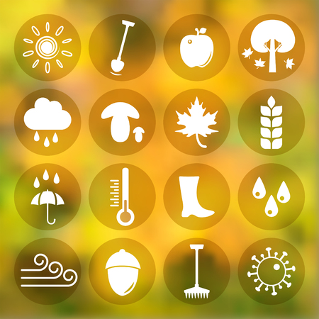 golden shovel: Autumn icons set on golden background, gradient mesh, 16 signs on round plates, 2d vector  Illustration