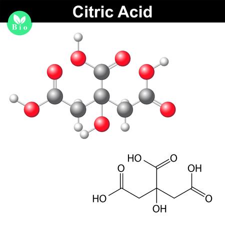 Citromsav molekula, citrát, szerkezeti kémiai képlet és a modell, 2D és 3D vektor, elszigetelt fehér háttér Illusztráció