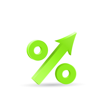 economic recovery: Percent up icon, economic recovery, 3d vector on white background