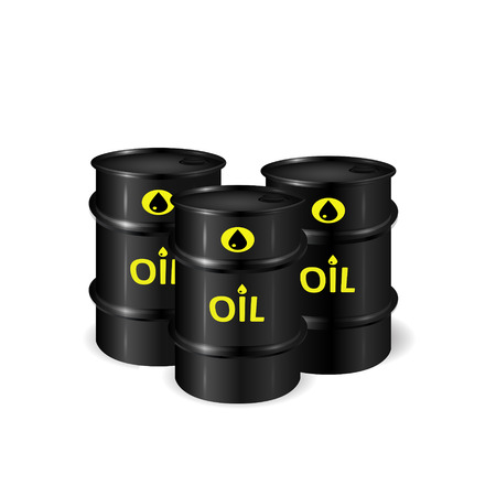 flank: Barrels of oil illustration, 3d vector object of oil resources, isolated on white background