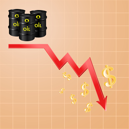 cheap prices: Drop in oil prices, concept of the economic cycle of cheap oil, 3d vector  Illustration
