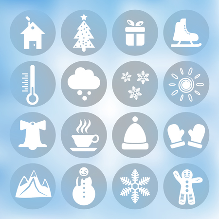 clody: Winter icons set on blue background, gradient mesh, 16 signs on round plates, 2d vector  Illustration