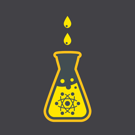 ml: Chemical flask icon on dark background, nuclear research concept, 2d vector Illustration