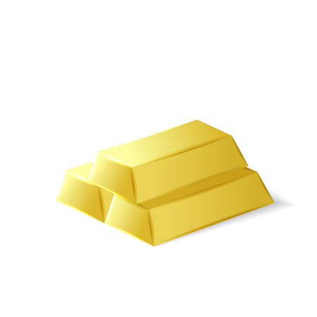Gold bars, golden investment tool, 3d vector object isolated on white background Stock Illustratie
