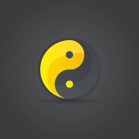 Yin and Yang sign, religious symbol, vector icon on dark background Illustration