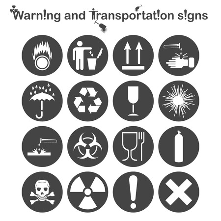 oxidant: Warning and Transportation icons set, 16 signs on round dark plates, 2d vector symbols Illustration