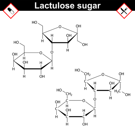 cathartic: Lactulose molecule - stereoisomer of lactose, purgative prebiotic agent, medical drug, 2d vector Illustration