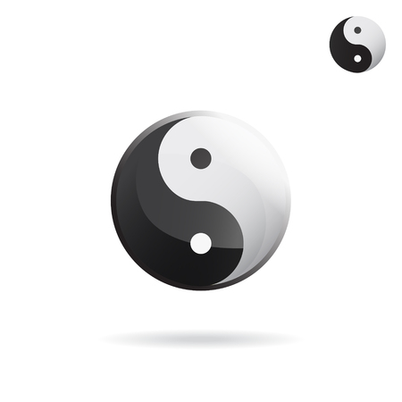confucianism: Ying and Yang sign, religious symbol, vector icon on white background, eps 10