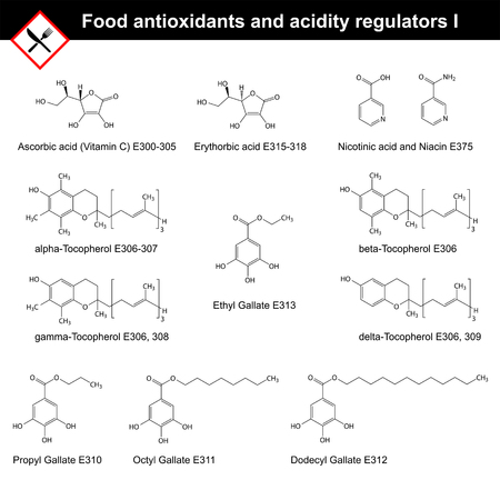 regulators: Chemical structures of main food antioxidants and acidity regulators, part I, 2d vector Illustration