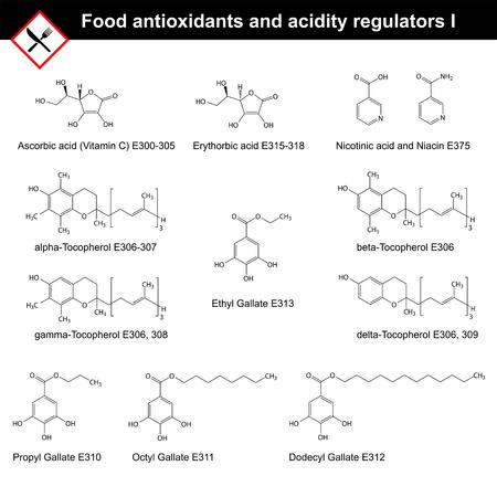 Chemische structuren van de belangrijkste voedsel antioxidanten en zuurteregelaars, deel I, 2d vector