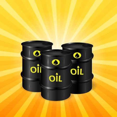 ressources naturelles: Oil barrels on sunray background, natural resources  3d vector, eps 10 Illustration