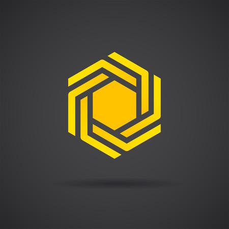 Zeshoekige ontwerp element op een donkere achtergrond, medaillon logo template, 2d vector, eps 8