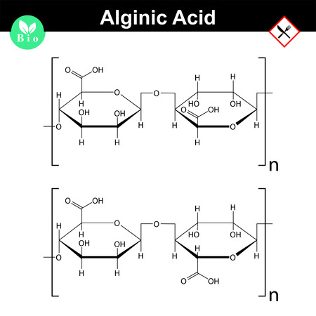 cathartic: Alginic acid molecular structure, food additive E401 - E404, polysaccharide of seaweed, 2d vector molecule, eps 8 Illustration