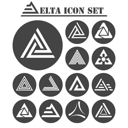 delta: Delta letter icons set, 13 signs on dark round plates, 2d vector, eps 8 Illustration