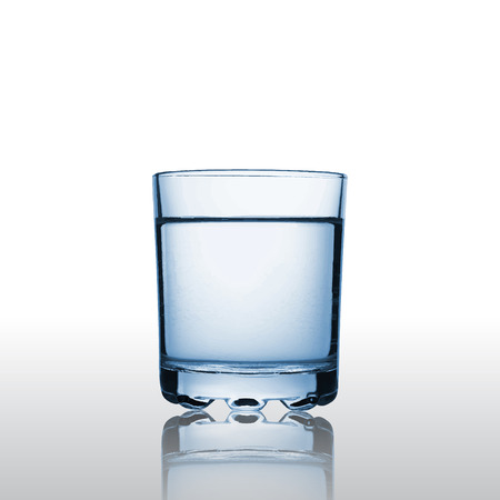 glass water: Pure mineral water in a glass, 3d vector object with reflection, eps 10 Illustration