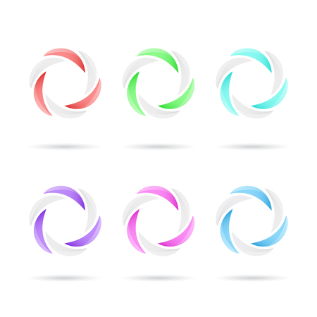segmented: Six segmented colored circles, 3d vector, color variations, eps 10 Illustration