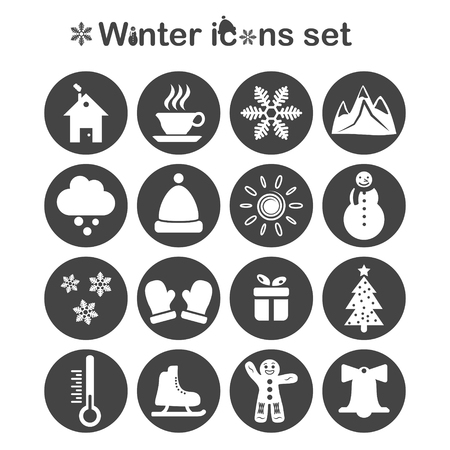 ice mountain: Winter icons set, 16 signs on dark round plates, 2d vector, eps 10