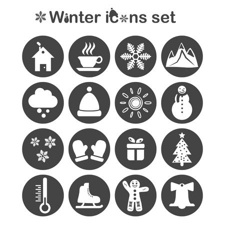 ice tea: Winter icons set, 16 signs on dark round plates, 2d vector, eps 10