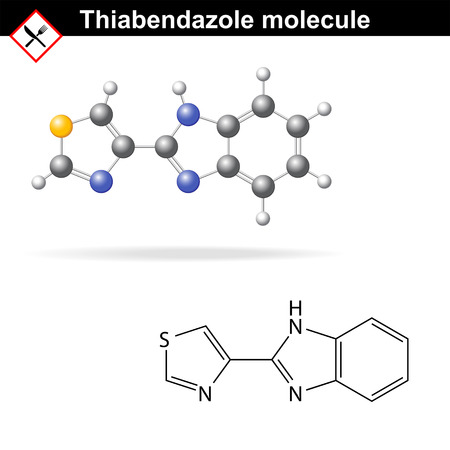 Thiabendazole molecule - antiparasitic and antifungal, food additive, Ð•233, vector eps 8