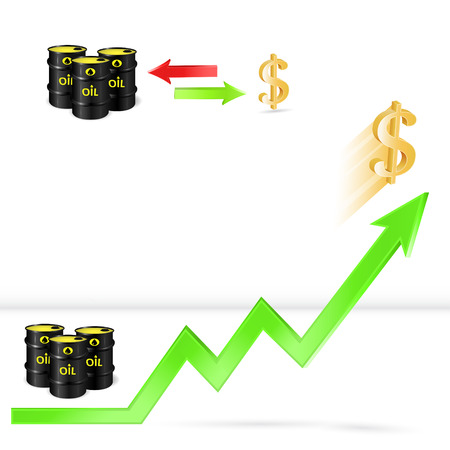 hydrocarbons: Oil price up, oil vs dollar exchange rate, 3d vector, market concept, eps 10