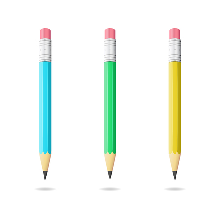 pensil: Colored pencils, office chancellery, 3d vector objects, eps 10