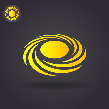 impetuous: Spiral cyclone concept icon on dark background, 2d and 3d illustration, isolated, vector, eps 8